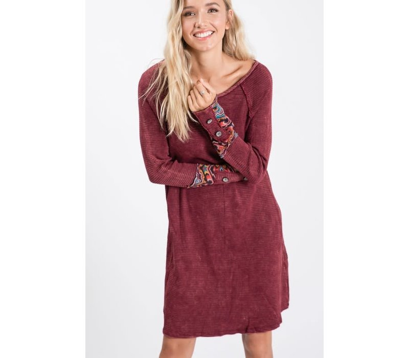 Burgundy Thermal Tunic Dress