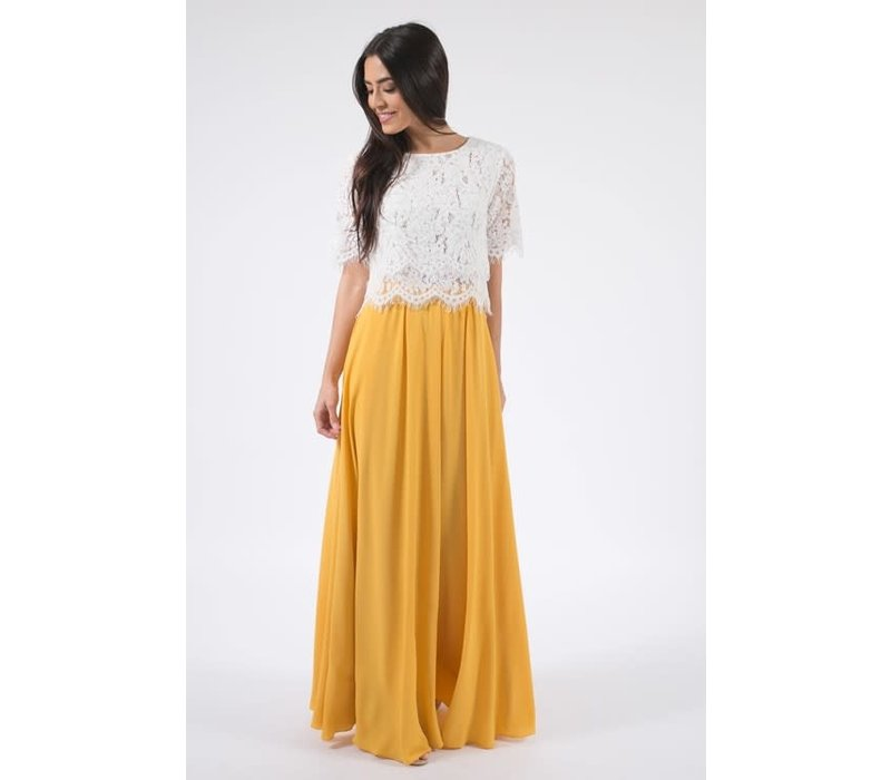 Bohemian Collect Yellow Pleated Maxi Skirt