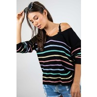 Black Rainbow Stripe Sweater