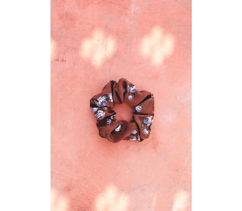 Brown Floral Scrunchie