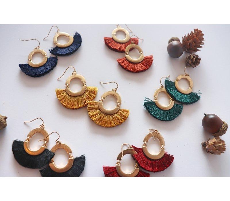 Fall Tassel Earrings- Navy