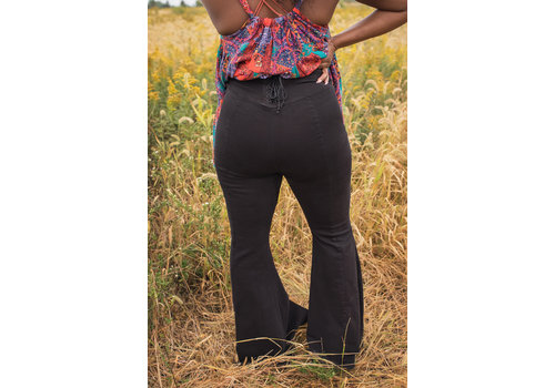 Curvy Super High- Rise Lace Up Flares  by Free People