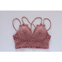 Scalloped Lace Bralette in Rose