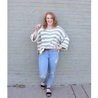 Mustard + Mint Stripe Sweater