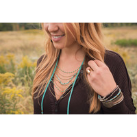 Boho Turquoise & Suede Beaded Necklace
