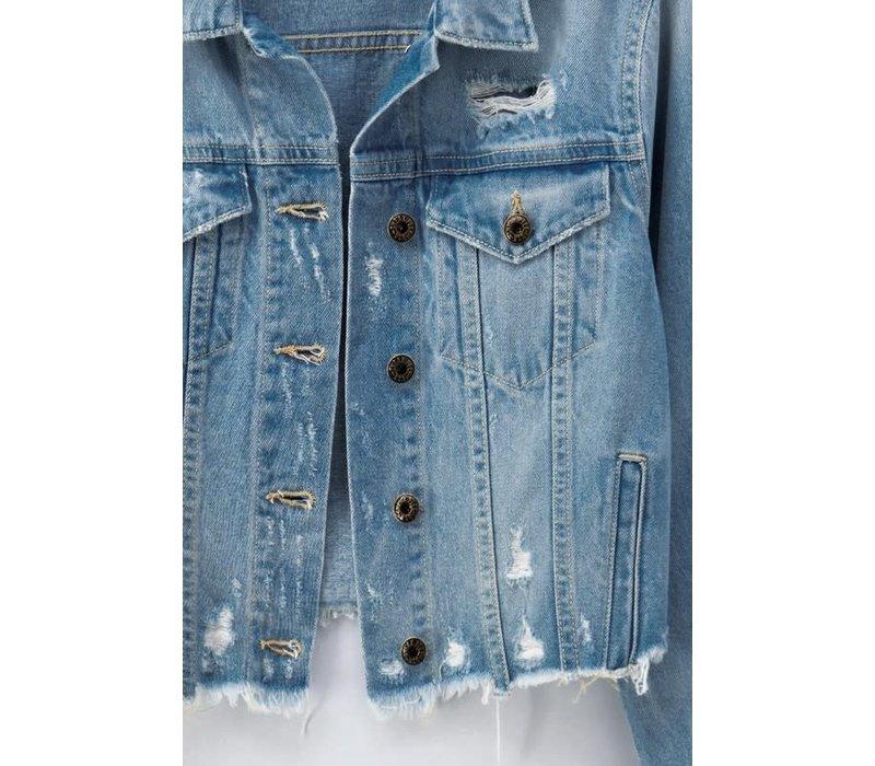 Destructed Cropped Denim Jacket