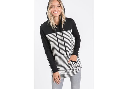 All Stripes Elbow Patch Hoodie
