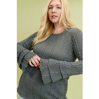 Curvy Ruffled Cable Knit Sweater