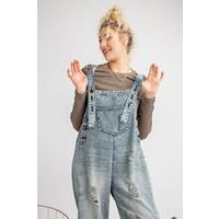 Vintage Denim Cropped Jumpsuit