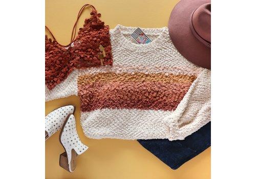 Sunset Stripe Popcorn Sweater