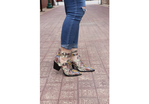 Snakeskin Buckle Ankle Boots