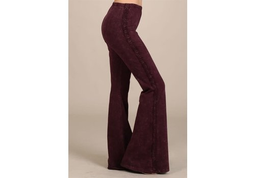 Burgundy Lace Trim Bell Bottoms