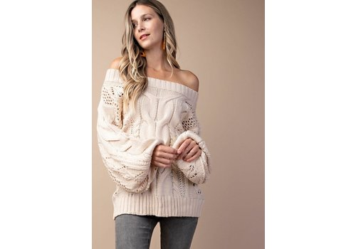 Puff Sleeve Sweater in Ivory