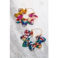 Acrylic Flower Hoop Earrings (4 Colors)