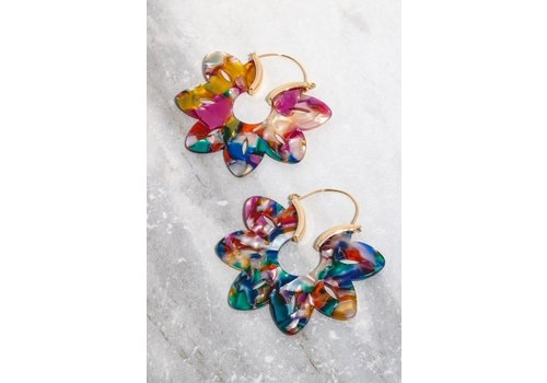 Acrylic Flower Hoop Earrings (4 Colors)