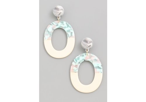 Mint Marble Acrylic Hoops
