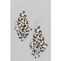 Leopard Beaded Fringe Earrings