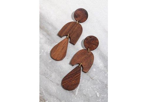 Wood Geo Earrings