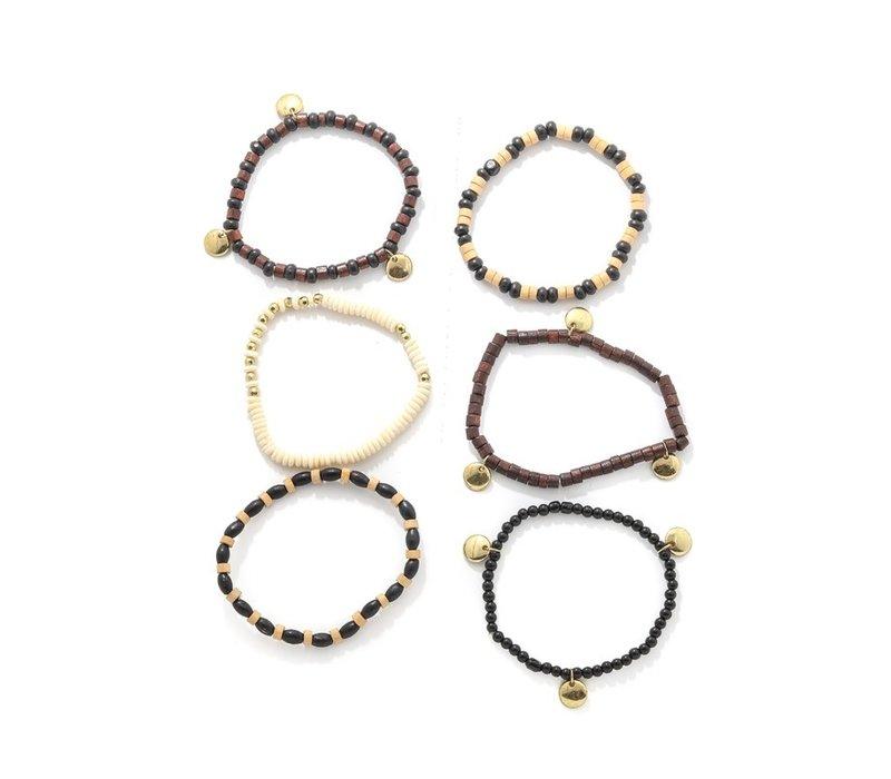 Wood Bead Bracelet Stack