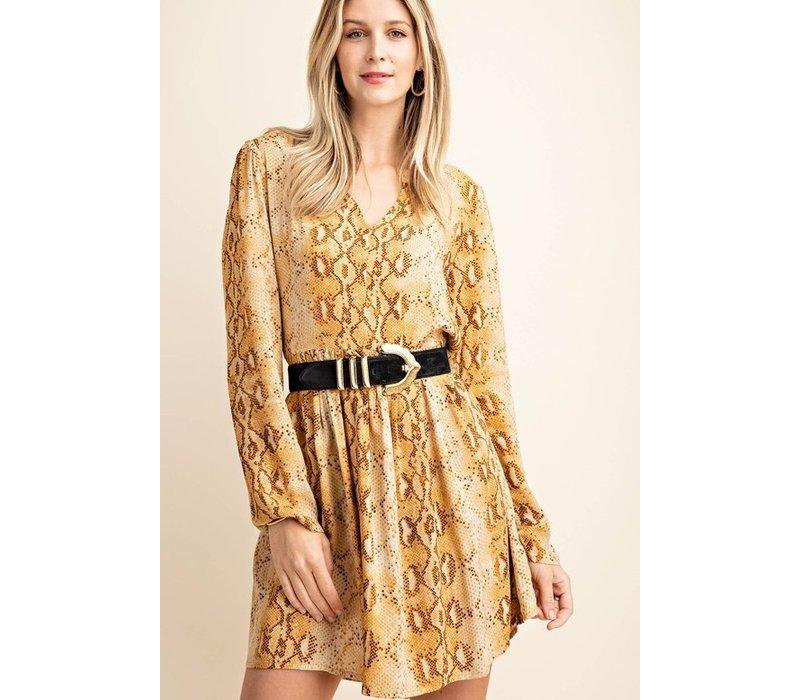Golden Skakeskin Shift Dress