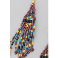 Fall Beaded Fringe Earrings