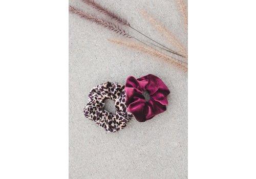 Burgundy & Leopard Velvet Scrunchies