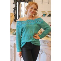 Turquoise + Lace Off Shoulder Knit Top