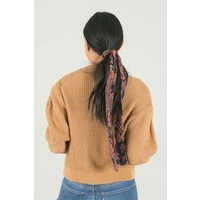 Navy + Camel Floral Print Hair Scarf
