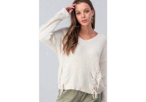 Ivory Chenile Fringe Sweater