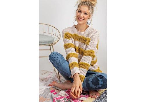 Fuzzy Stripe Knit Sweater