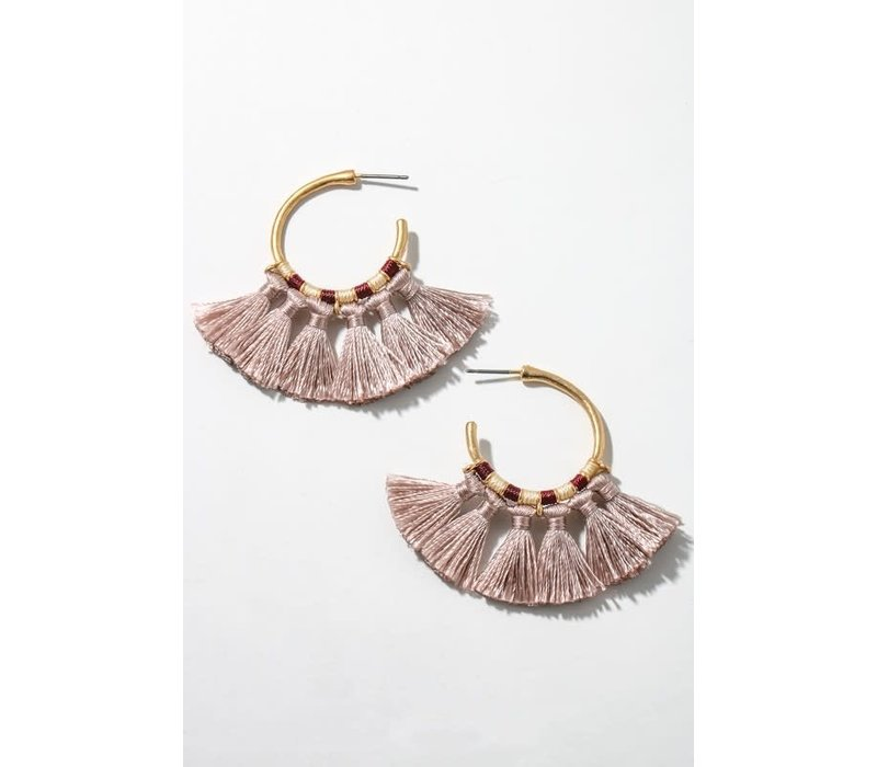 Mini Tassel Hoop Earrings (9 Colors)