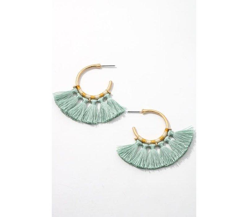 Mini Tassel Hoop Earrings (9 Colors)