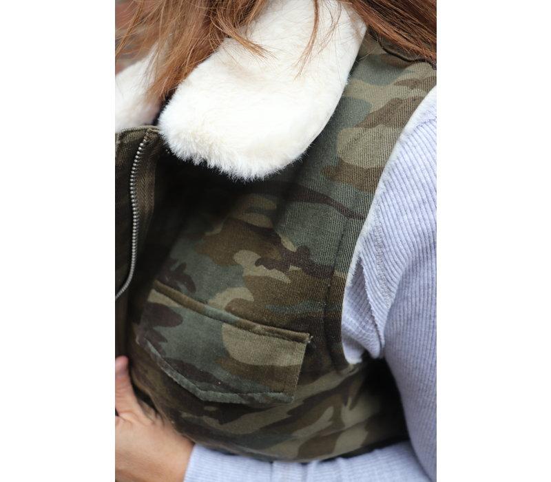Faux Fur Lined Camo Vest