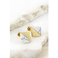 20kt Gold & Natural Stone Square Earrings-