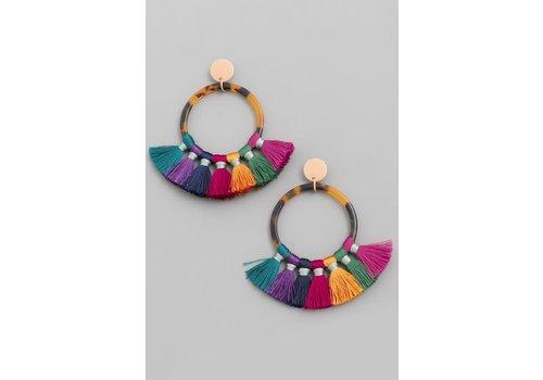 Tortoise + Fringe Hoop Earrings