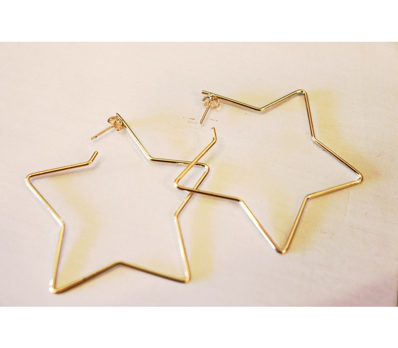 14k Gold Star Hoops
