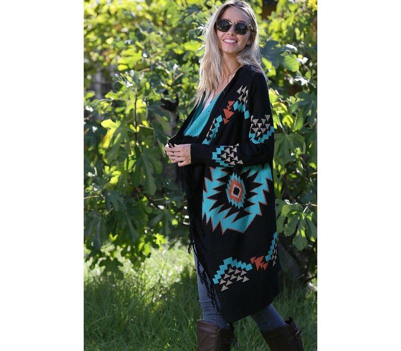 Black Aztec Sweater Cardigan