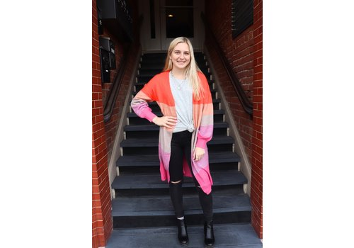Sunkissed Coral Colorblock Cardigan