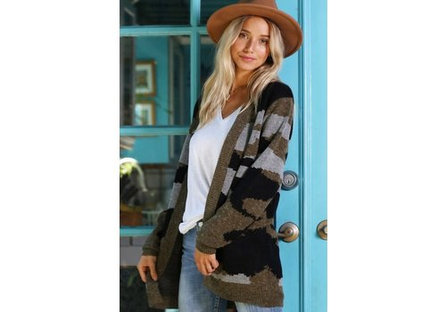 Camo Sweater Cardigan
