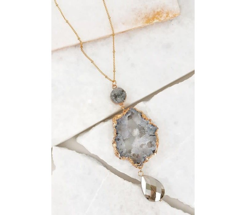 Black Diamond Crystal Druzy Tiered Necklace