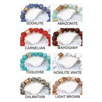 Natural Stone Matte Finished Beaded Bracelets-