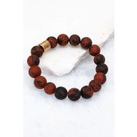 Natural Stone Beaded Bracelets w/Metallic Bead- 14 Color Options