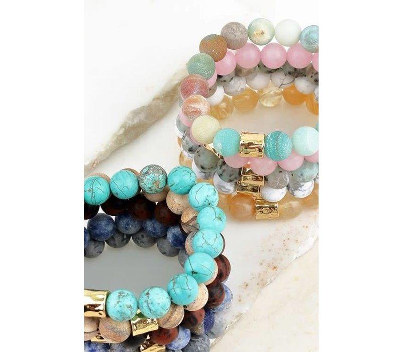 Natural Stone Beaded Bracelets w/Metallic Bead- 14 Color Options