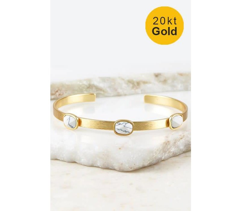20kt Gold Bracelets with Natural Stone Accents-2 Colors