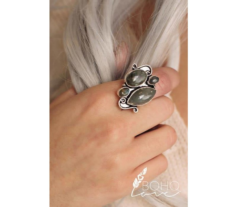 Antique Silver & Jade Stone Ring