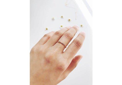 Tiny Rainbow Bezeled Crystal Ring