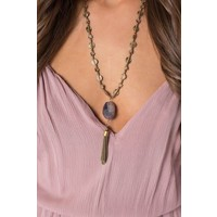 Amethst Stone & Tassel Necklace in Silver and Gold Option