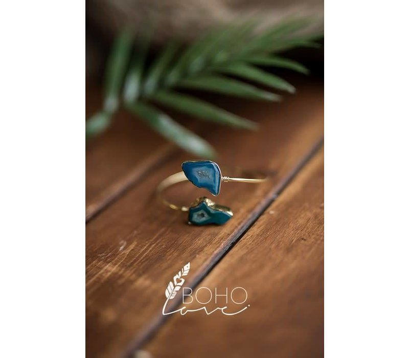 Blue Agate Stone Adjustable Bracelet Cuff