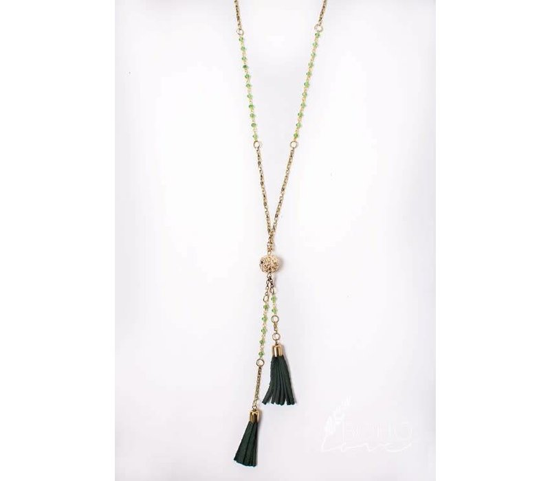 Beaded Suede Tassel Drop Necklace