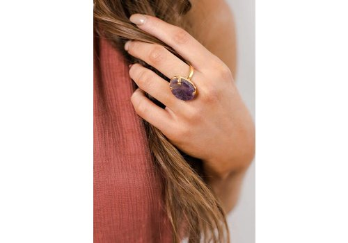 Purple Gemstone Ring Wrapped in Gold